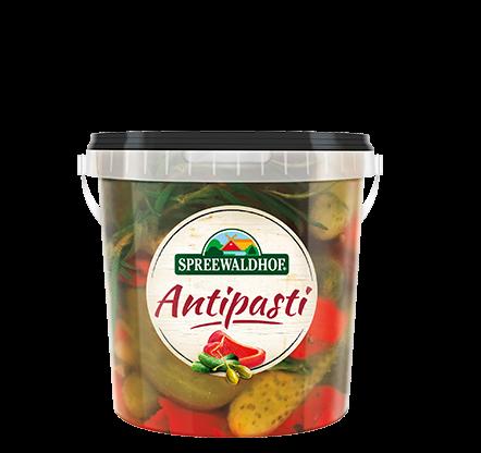 Antipasti – Würzige Cornichons mit Kapernäpfeln, 0,5 l Eimerchen
