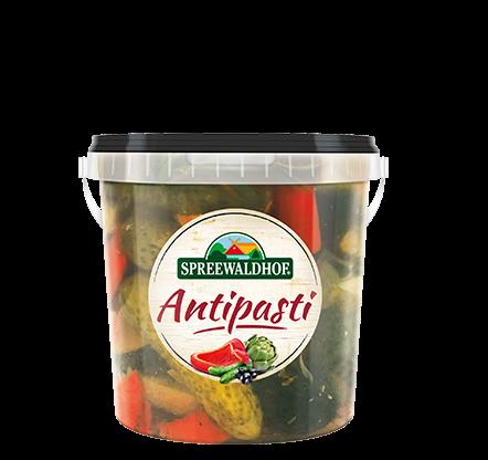 Antipasti – Würzige Cornichons mit Antipasti, 0,5 l Eimerchen